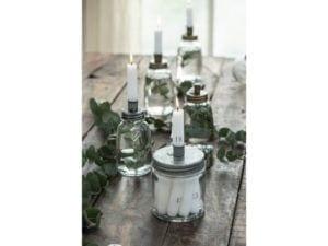 Lysestage glas t/bedelys lav model