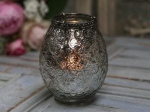 Chic Antique, Ampel med lysholder og sølvdekor
