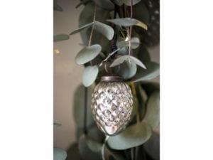 Julekugle kogle sølv 6 cm.