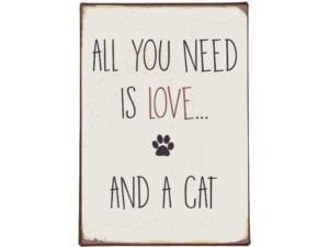 Metalskilt All you need is love and a cat