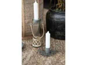 Mundblæst vase m. bambus