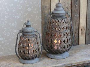 Lanterne med zink top 40 cm