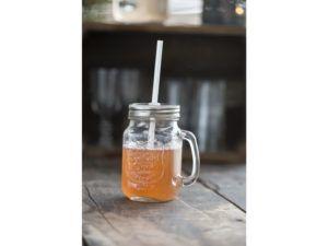 Glaskrus m/låg og sugerør 400 ml