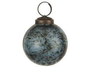 Julekugle pebbled glas petrol