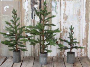 Fleur grantræ i zinkpotte 47 cm.