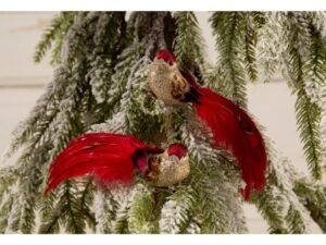 Deko fugl med rød hale