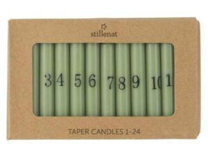 Kalenderlys 1-24 kertelys støvgrøn m/sorte tal