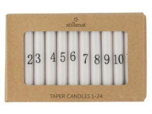 Kalenderlys 1-24 kertelys hvid m/sorte tal