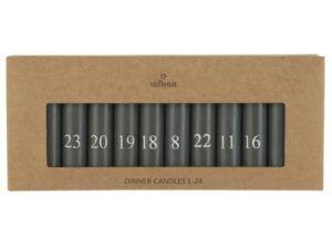 Kalenderlys 1-24 bedelys mørkegrå m/hvide tal