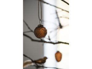 Julekugle svungen mønster amber 5 cm