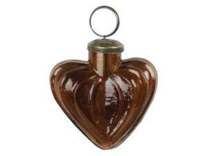 Julekugle hjerte amber 6 cm
