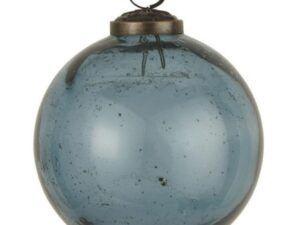 Julekugle pebbled glas petrol 10,5 cm