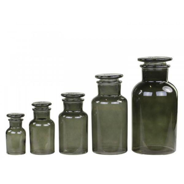Apotekerglas m. låg sæt af 5 kul