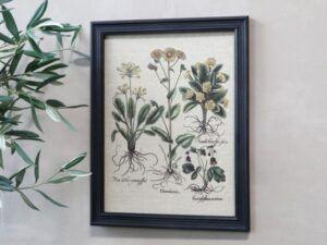 Billede m. blomstermotiv & sort ramme