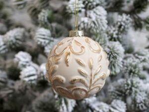 Chic Antique Julekugle med guld mønster