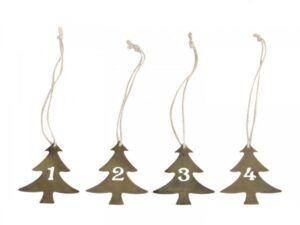 Chic Antique Adventstal juletræ sæt á 4