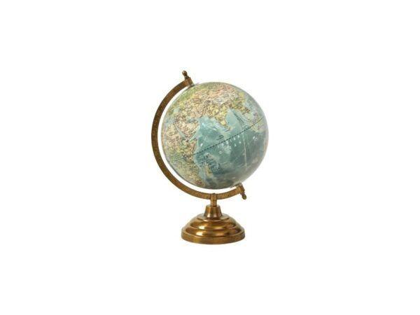 Globus på fod 33 cm shiny light blue