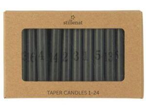 Kalenderlys 1-24 kertelys mørkegrå med sorte tal
