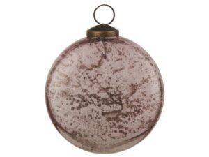 Julekugle flad model pebbled glas rosa