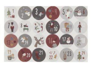 Ark med 24 julekalenderklistermærker 1-24