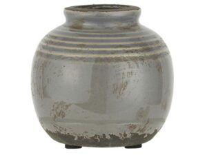 Vase mini m/riller grå