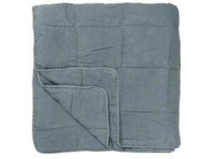 Vintage quilt sengetæppe dobbelt støvblå
