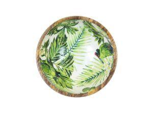 Skål i mango m. papegøje 25 cm