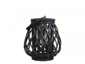Lanterne i flet 25 cm Sort