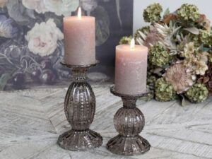 Chic Antique lysestage med perlekant Mocca